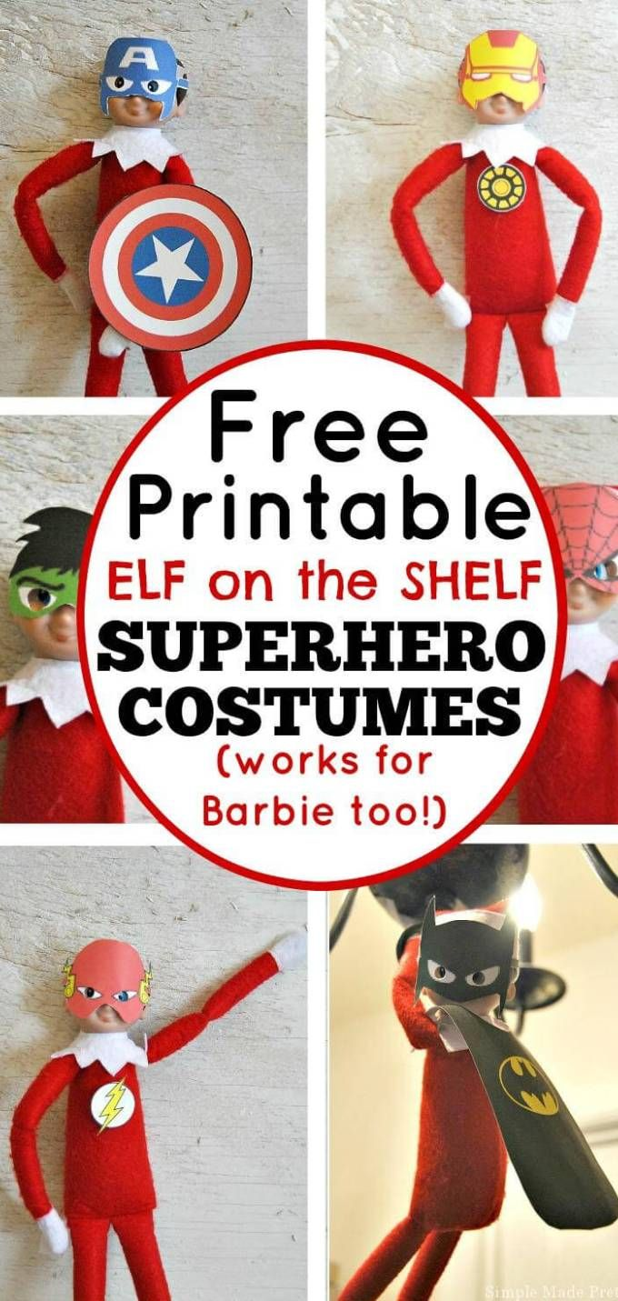 Free Printable Elf Superhero Costumes #elfontheshelfideas