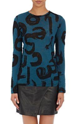 PROENZA SCHOULER Brushstroke-Text Jersey Long-Sleeve T-Shirt. #proenzaschouler #cloth #t-shirt