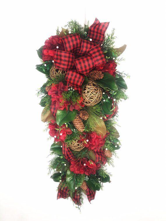 Christmas buffalo plaid wreath with hydrangeas Magnolia wreath, Winter decor for front door, Rustic Farmhouse, winter decor, buffalo check