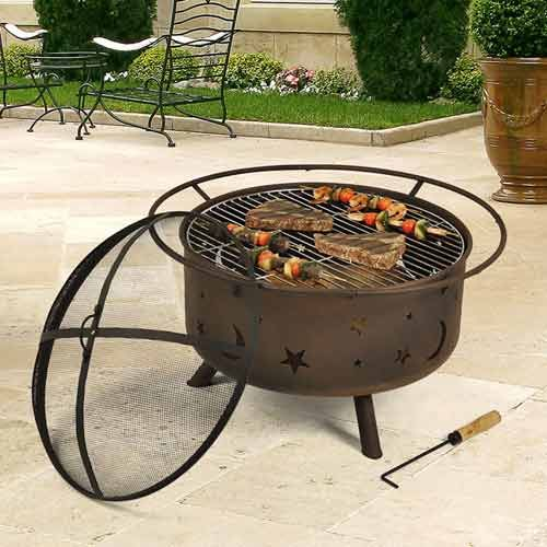 Sunnydaze 30 Inch Cosmic Fire Pit With Cooking Grill And Spark Screen With Images Fire Pit Fire Pit Grill Outdoor Fire Pit