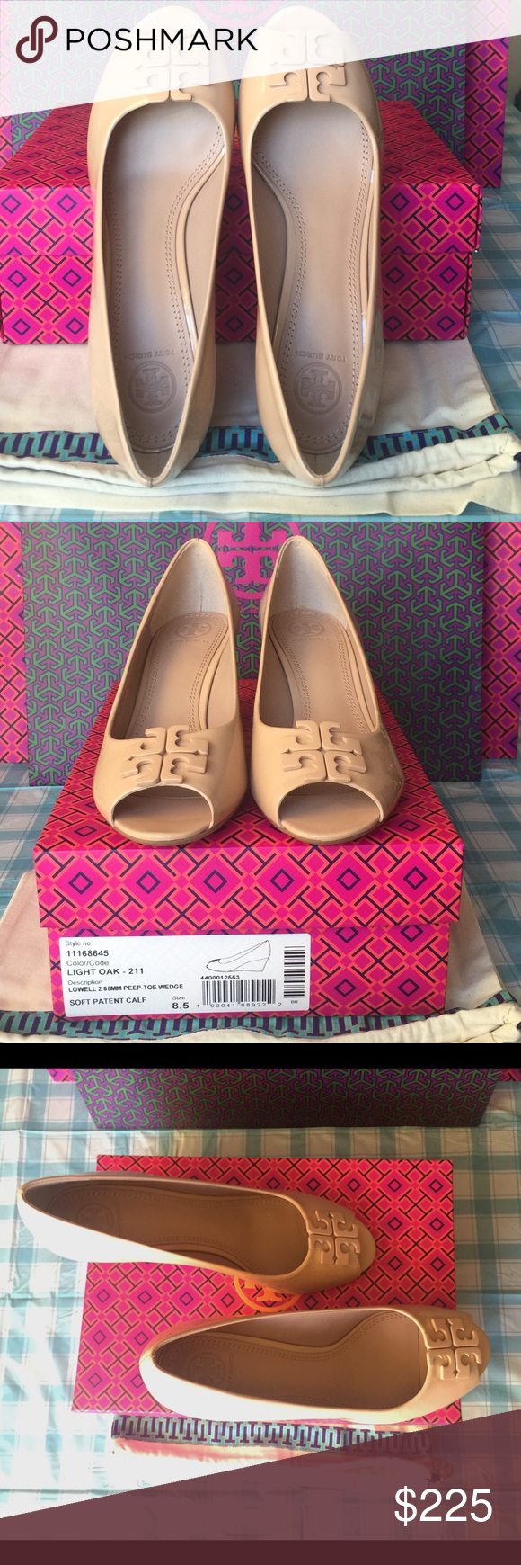 f4b3763dd4f50 TORY BURCH LOWELL PEEP-TOE WEDGE Authentic.Light Oak. Made in Brazil ...