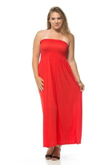 Coral Banded Long Plus Size Maxi Dress