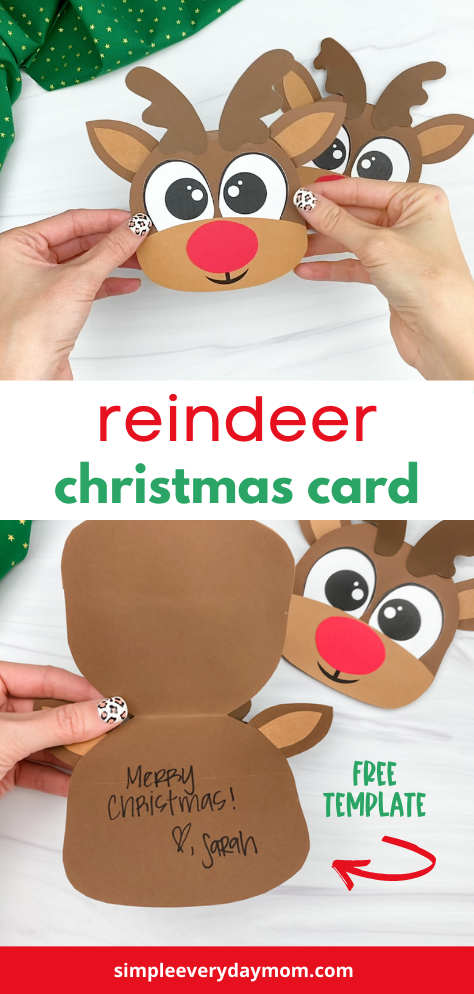 Christmas Reindeer Card With Free Template Christmas Reindeer Reindeer Card Christmas Crafts For Kids