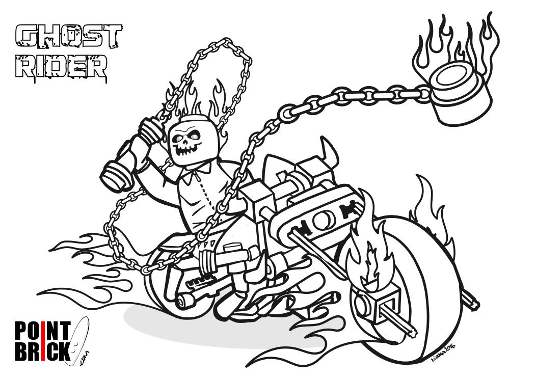 Disegni da Colorare LEGO  Marvel Super Heroes  Ghost Rider