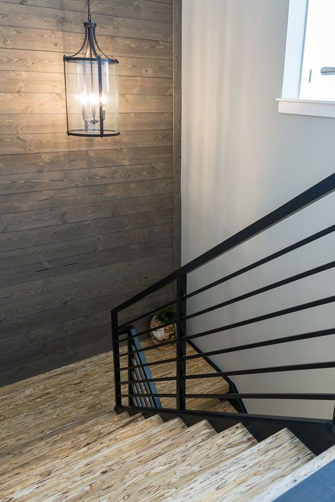 Best Modern Farmhouse Staircase With Metal Railing And Parallam 640 x 480