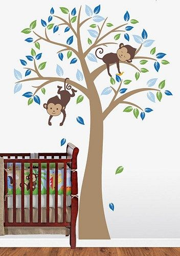 Monkey Wall Decals Nursery Monkeys Decal Tree And Name Windy Baby Kidsrk6