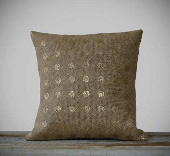 Gold Polka Dot Pillow Cover  by Jillian Rene Decor