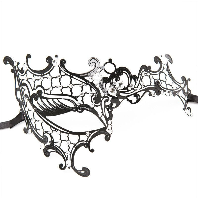 Black Phantom Laser Cut Venetian Half Mask Masquerade Metal - masquerade mask template