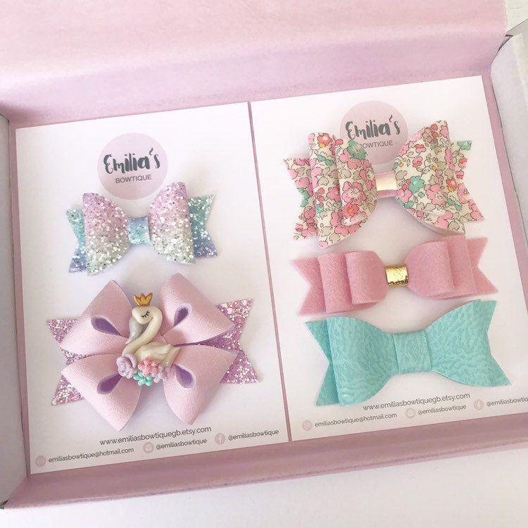 Pastel Swan Gift Set, Floral Hair Bow, Pink Wool Felt Bow, Glitter Bow, Baby Headband, Girls Hair Bow, Birthday Gift #babyheadbands