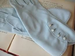 Vintage Pale Blue gloves with pearls