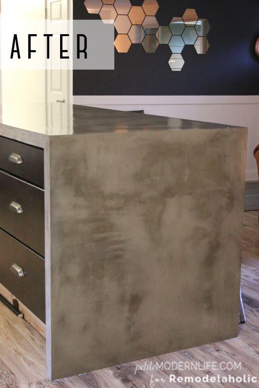 DIY Concrete Kitchen Island Reveal + How-To | Diy concrete ...