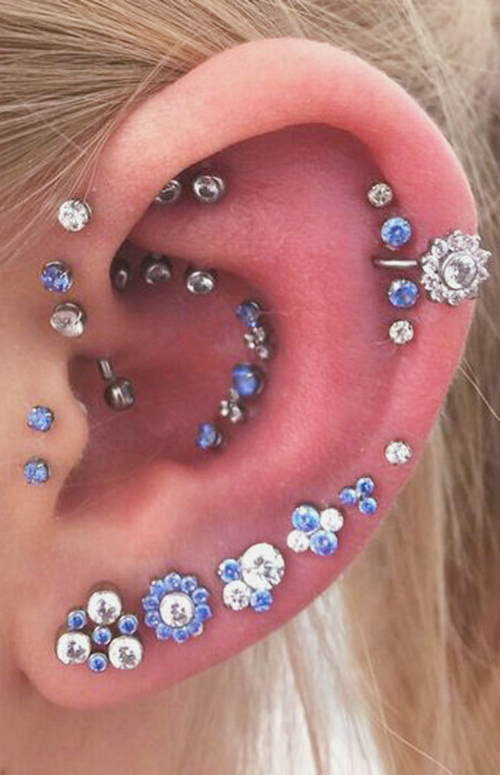 Black Crystal Triple Cartilage Tragus Helix Stud Earring Jewelry Piercing
