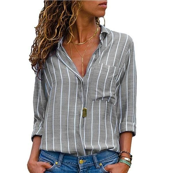 69157a40063cd0 Black Red Striped Blouse Womens Tops And Blouses Long Sleeves Women Blusas  Mujer De Moda 2018 Autumn V Neck Blouse Shirt