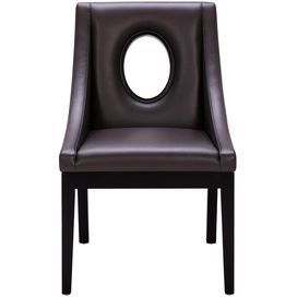 Retro-inspired side chair with bonded leather upholstery and an oval back cutout.
