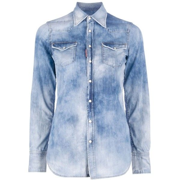 c79ab14ad7 DSQUARED2 bleached denim shirt ( 265) ❤ liked on Polyvore featuring tops