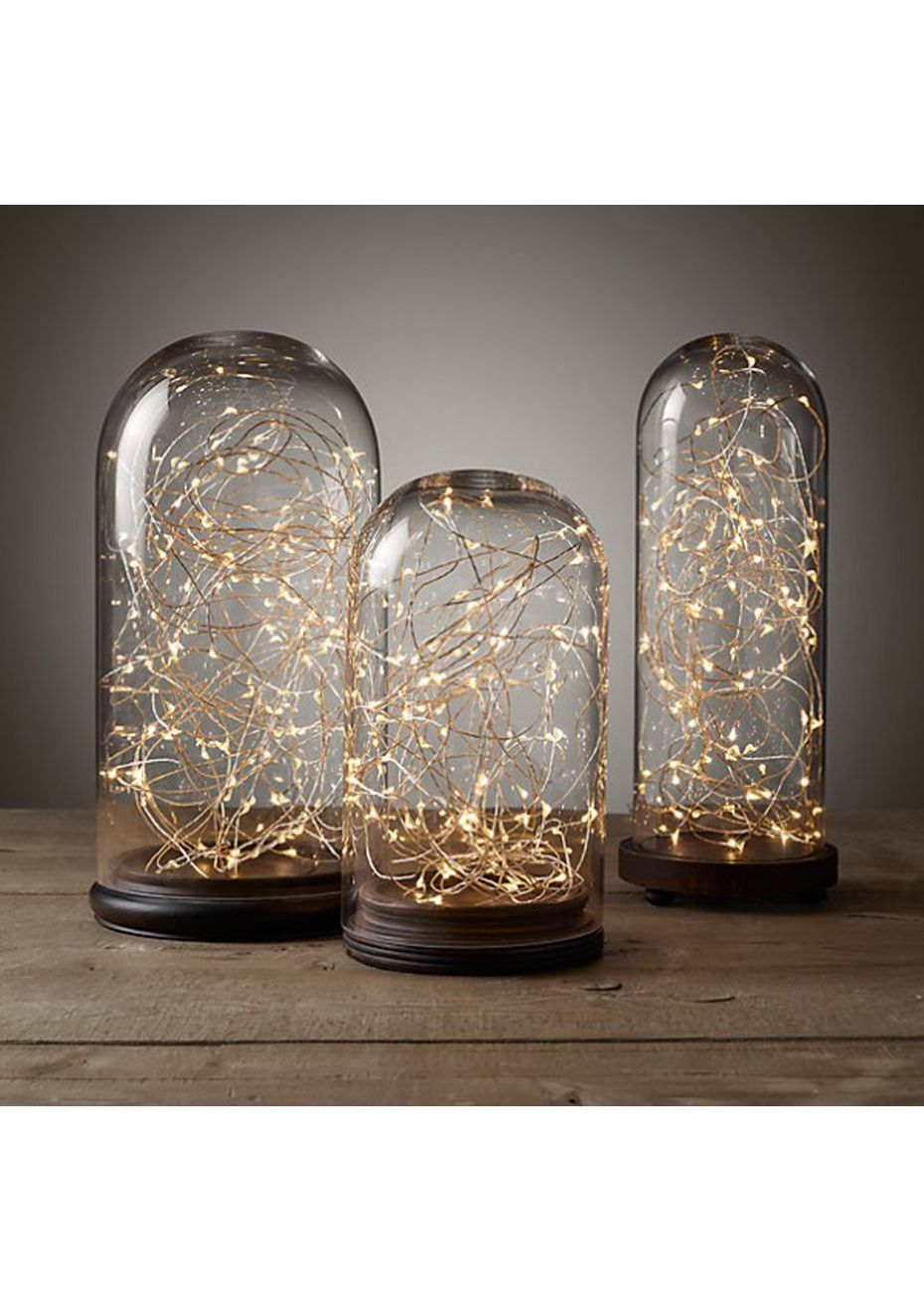 Copper wire seed light set of two warm yellow gift ideas