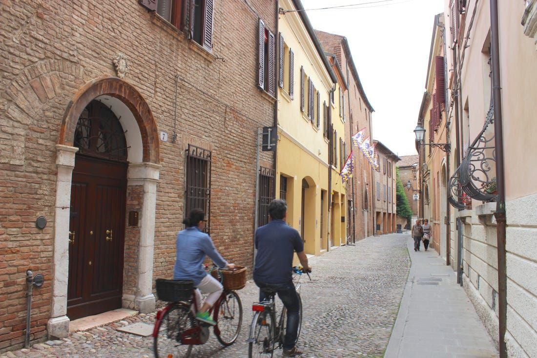 Straight lanes laid in stone and lined with brick in the streets and alleys of Ferrara, those beautiful doors, a medieval and contemporary architectural treasure among the so many found in Europe...And its people and their lifestyle.. European Spring Trip 2015