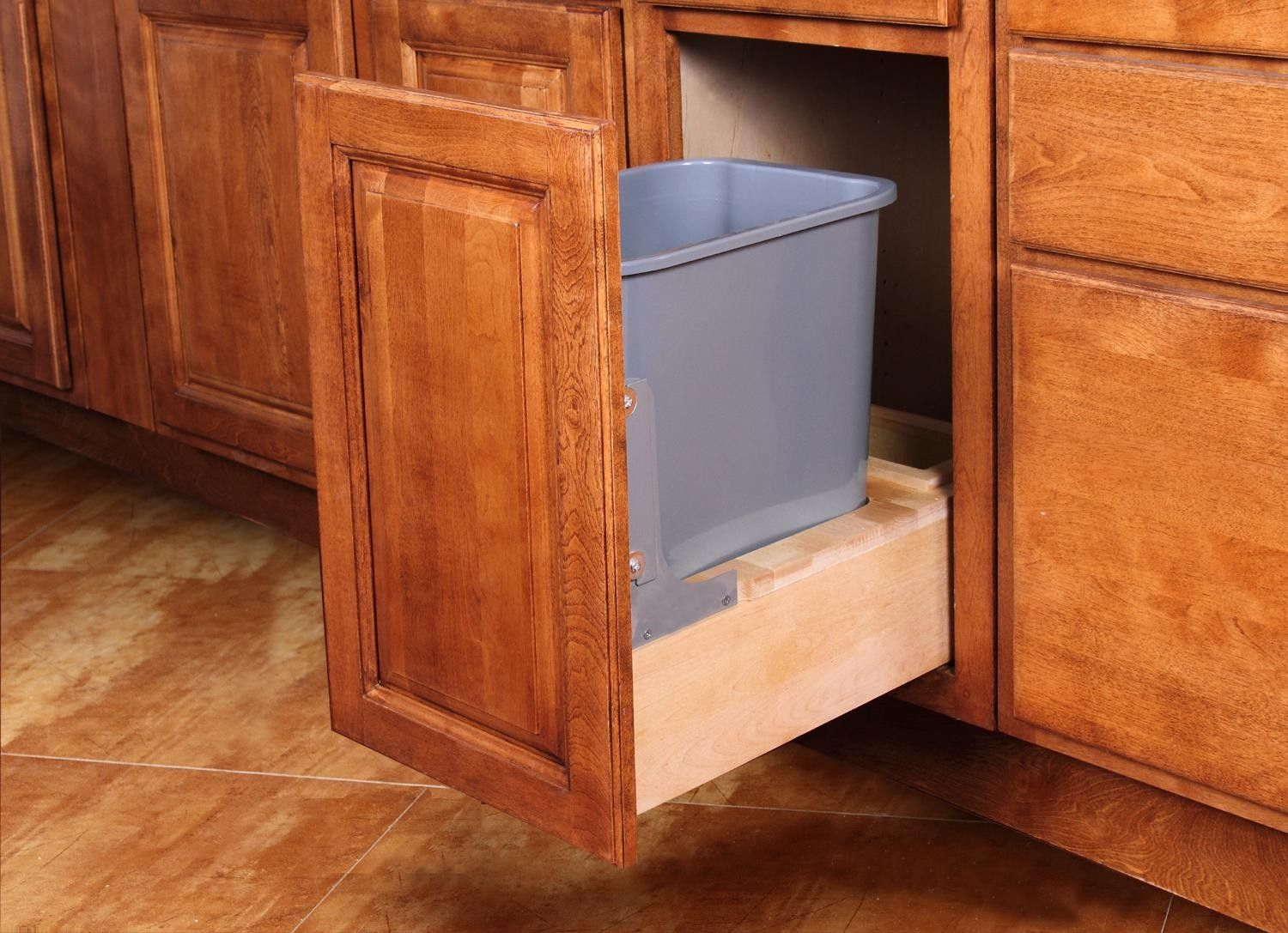 Single Pullout Waste Basket For A 15 Wide Base Cabinet