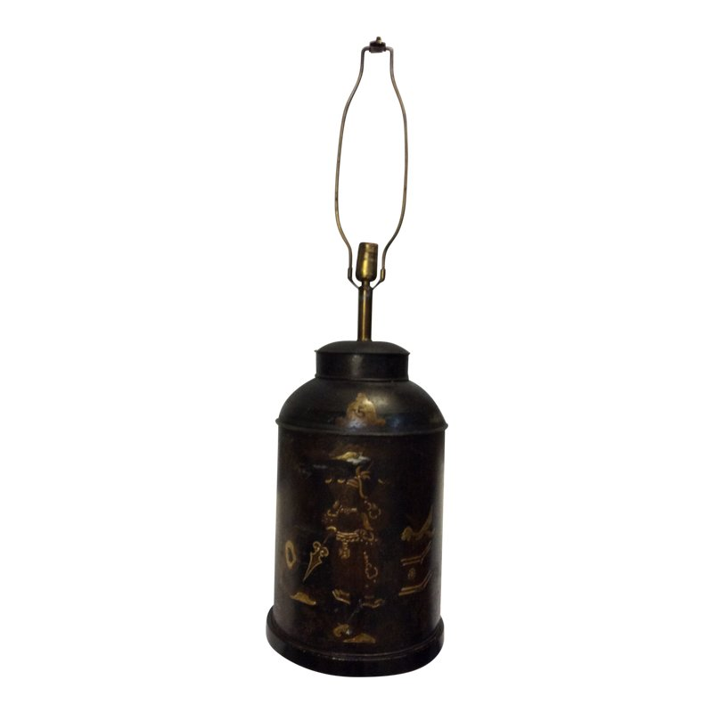 Chinoiserie Decorated Tea Canister Lamp