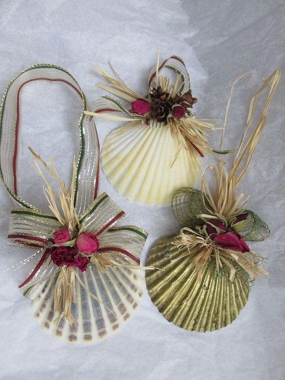 Christmas shell ornaments set natural scallop
