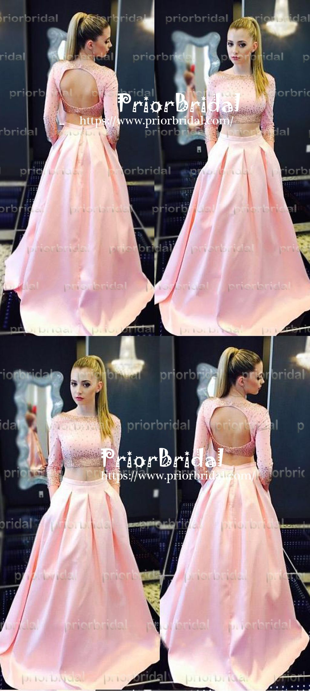 Two pieces long sleeve gold beading pink satin open back prom gown