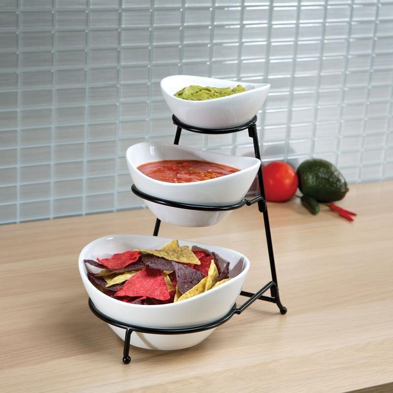 Ksp Strata Ceramic Buffet Bowl 3 Tier White Kitchen Stuff Plus Serving Bowl Set Buffet Decor Small Kitchen Decor