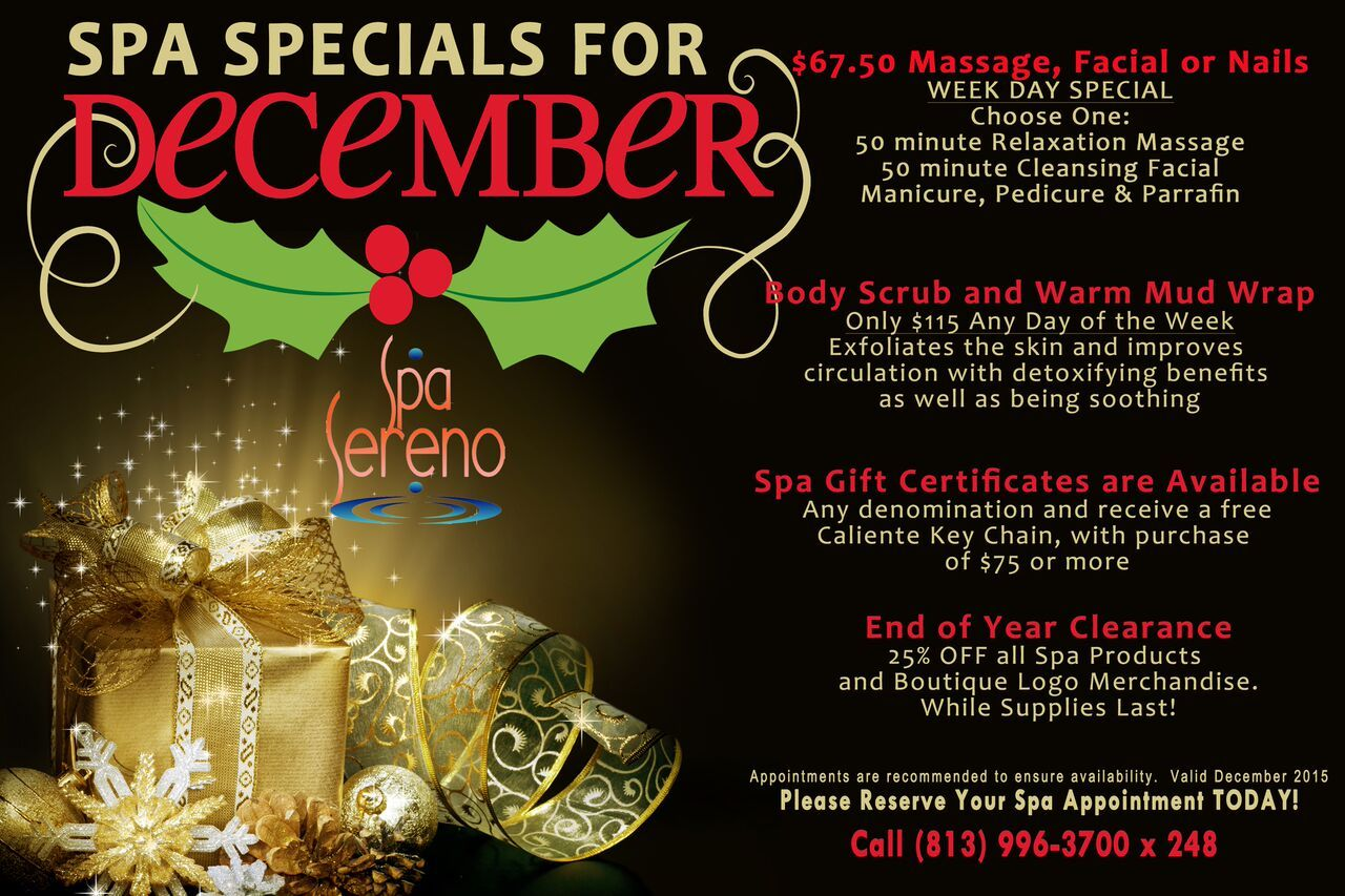 Spa Holiday Specials at CalienteResort & Spa Spa