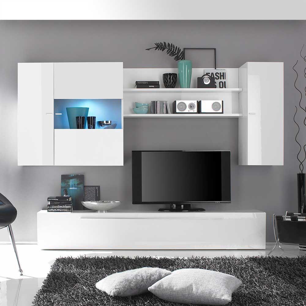 hochglanz wohnwand in weiß beleuchtung (4-teilig, Wohnzimmer dekoo