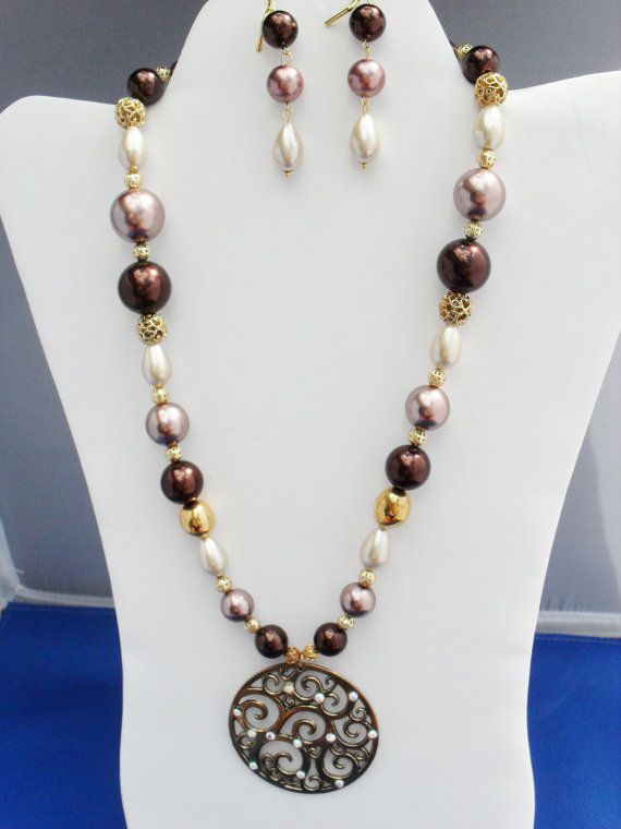 Gold OOAK medallion crystals Swarovski ivory lavender by ElmsRealm, $38.00