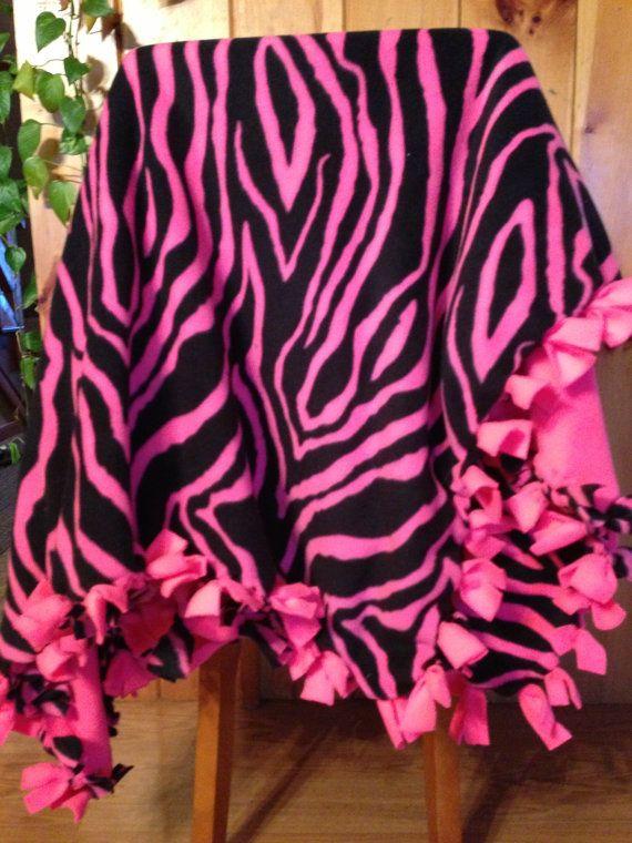 Hand Tied Fleece Neon Pink Zebra Print Blanket Throw By