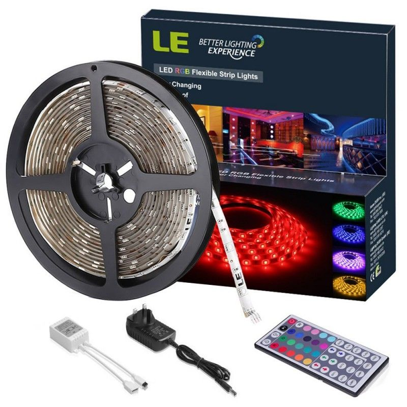 Colour Changing Mood Lighting Power Supply and Remote Controller Included 150 SMD 5050 LED Tape LE 5M RGB LED Strips Lights Kit Dimmable