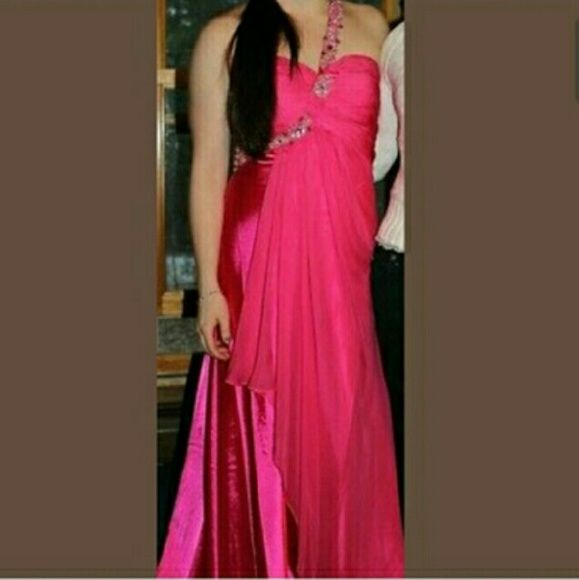 """Pink Formal Gown! PLEASE READ DESCRIPTION Gorgeous satin-like material with layer of pink mesh-y fabric over it. One bedazzled strap. Made for someone 5'3"""" in three to four inch heels. Zipper back. Perfect for a pageant. Originally $300. IT SAYS SIZE 6 BUT IS TAILORED TO A 4. Cinderella Dresses"""