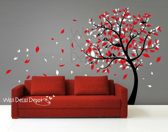 blowing tree wall decal wall sticker vinyl art, mural , wall decor