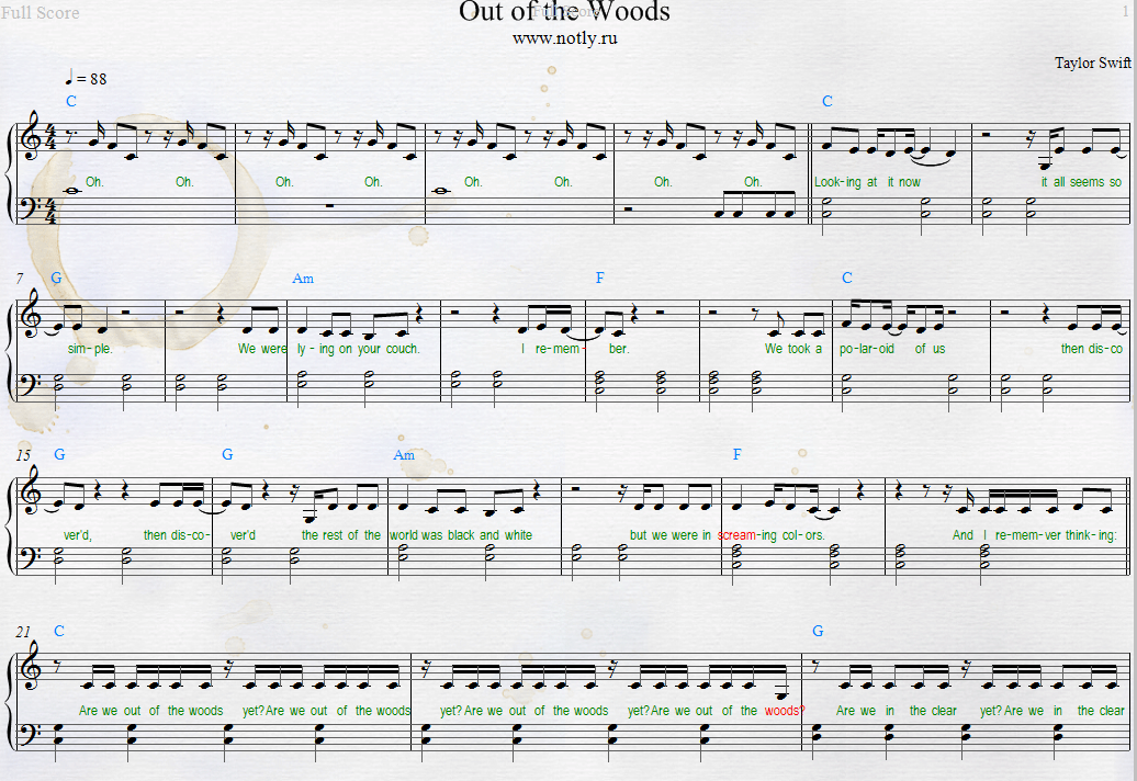 Taylor Swift — Out of the Woods Piano Sheets from 1989 album ...