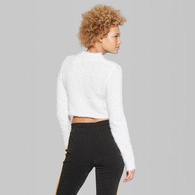Women s Fuzzy Crop Mock Neck Sweater - Wild Fable Fresh White Xxl ... bcb6b3ede