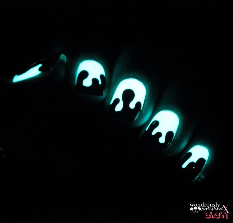 Mani Monday: Glow in the dark, blood splatter nail tutorial | Dark ...