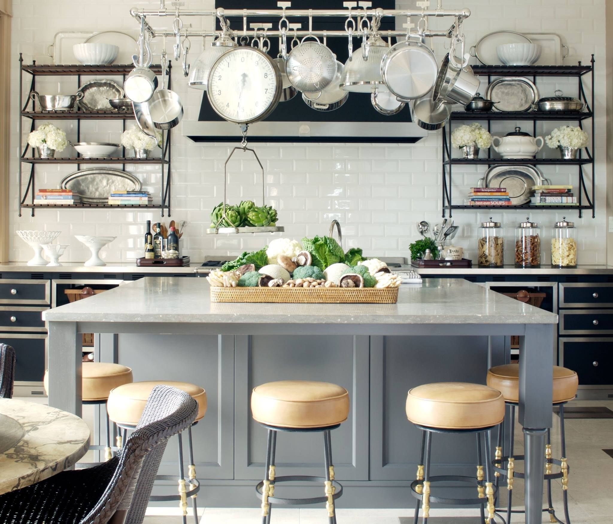 Industrial Kitchen, Gray Island, Marble Counters, Black Cabinets, Pot Rack