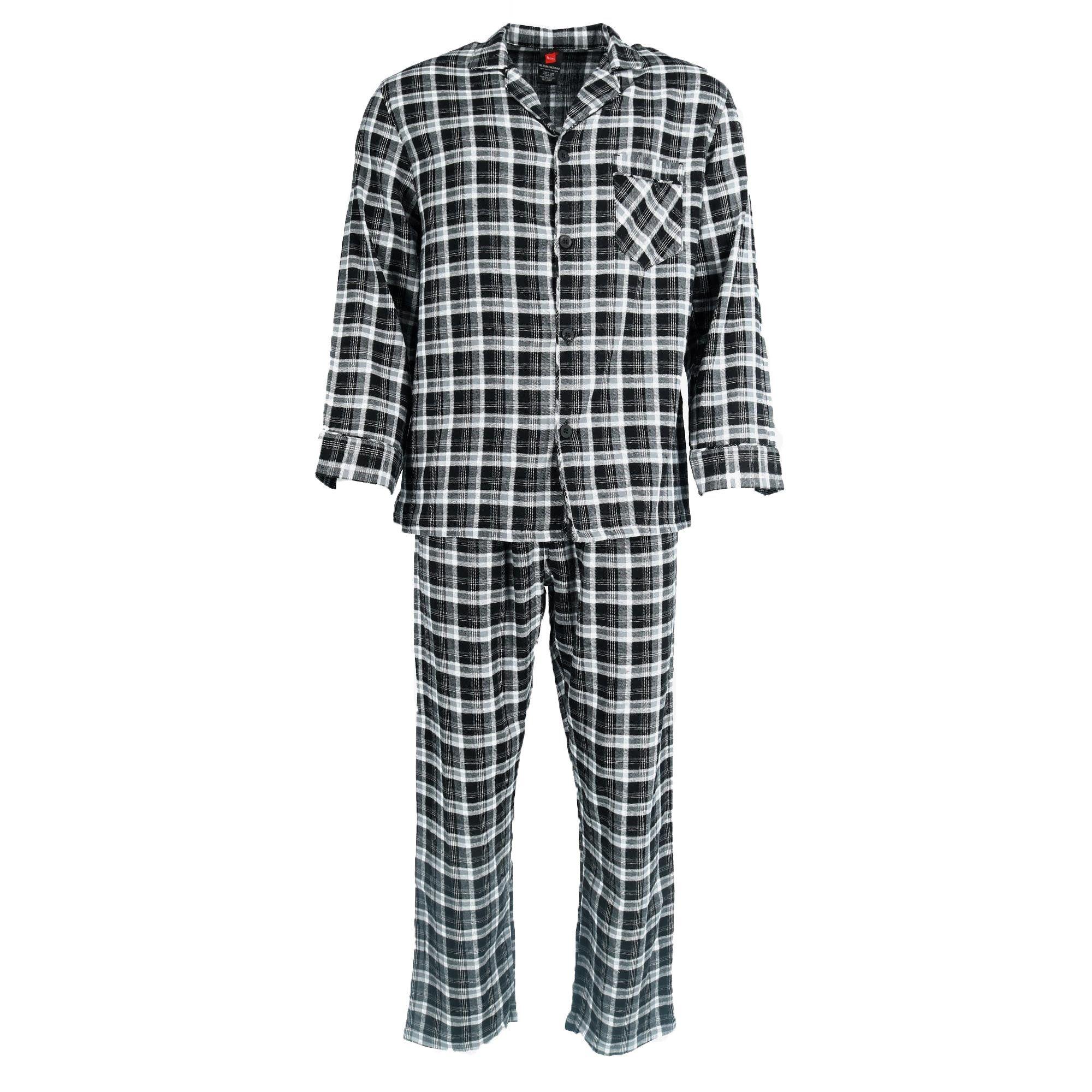 Hanes Mens 100/% Cotton Flannel Plaid Pajama Top and Pant Set