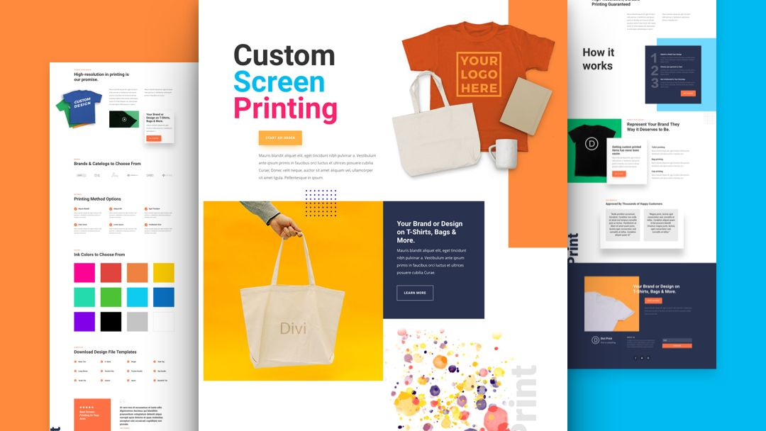 Get A Free Screen Printing Layout Pack For Divi Web Design Freebies Web Design Screen Printing