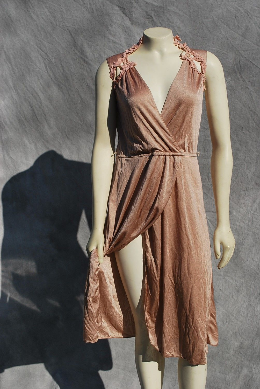 vintage 70's DISCO dress SEXY halston like disco dress s7-8 polyester