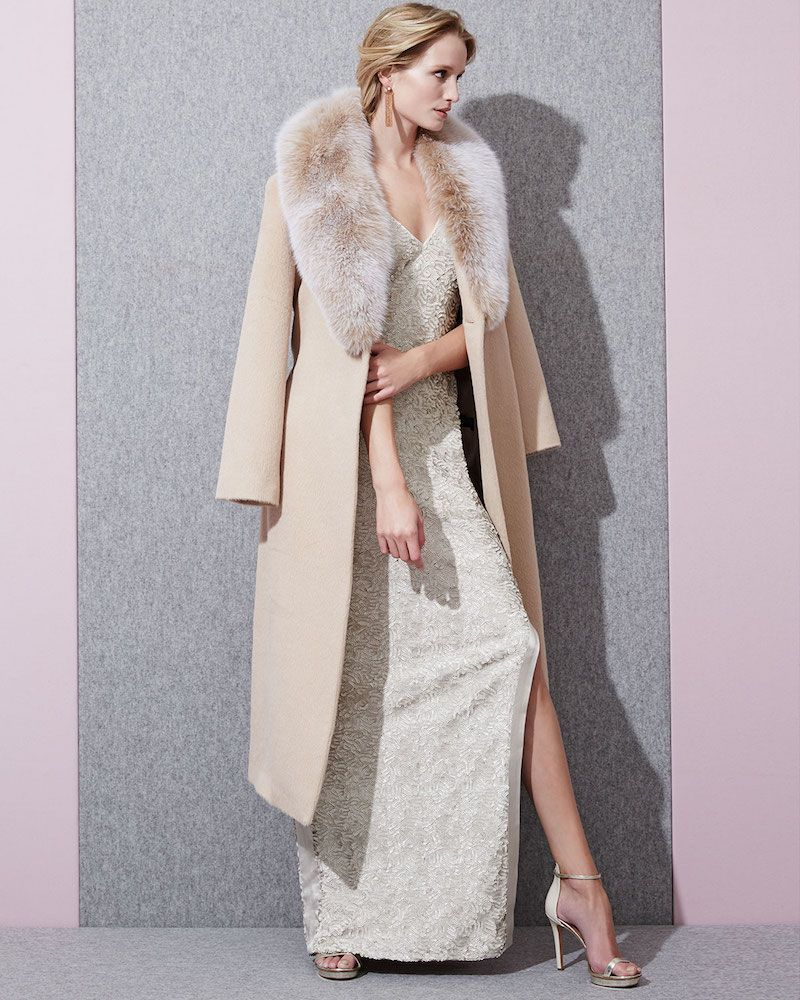 Sofia Cashmere Long Alpaca-Blend Wrap Coat with Fox Fur Collar ...