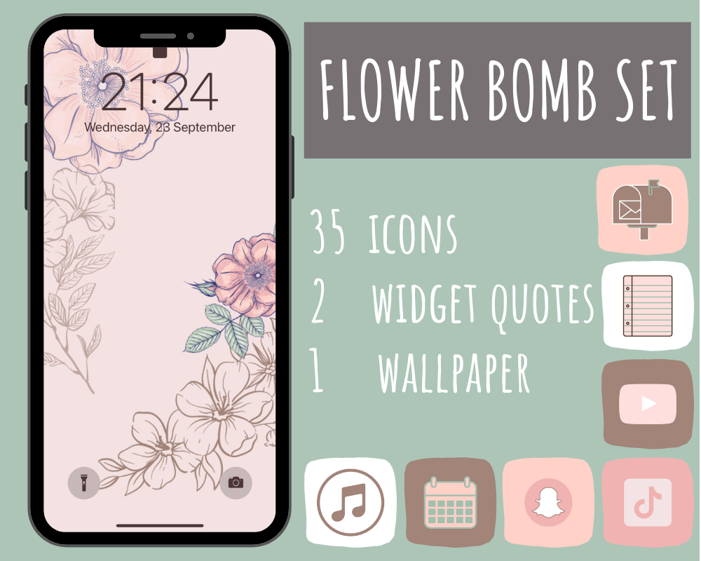 35 Pink Flowers iOS 14 app icons, App Icons for iOS 14