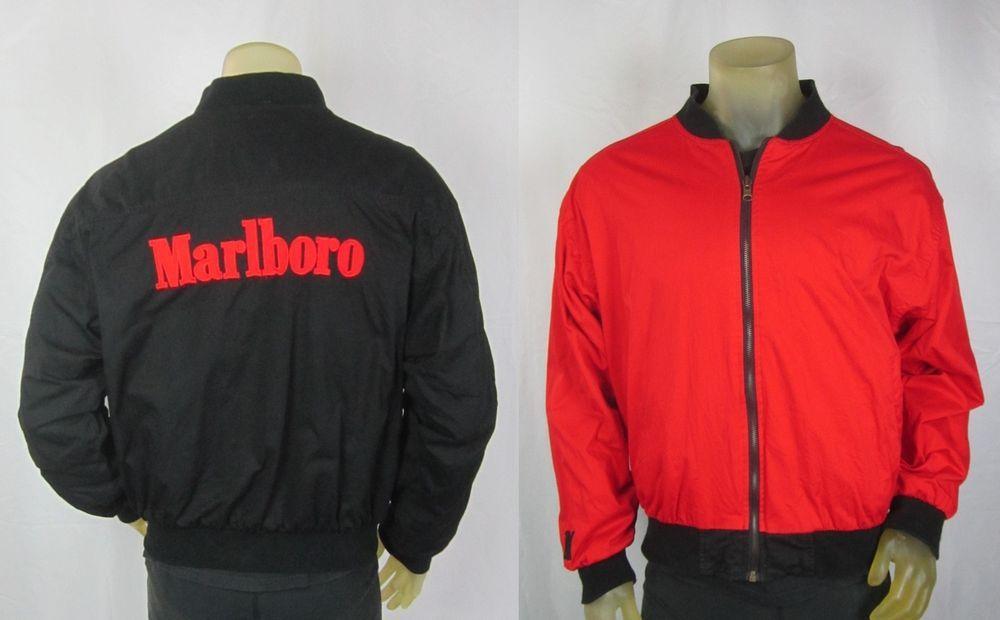 f29ee3b56182 Vintage Marlboro Cigarette Reversible Bomber Jacket Red & Black Raised  Letters #Marlboro