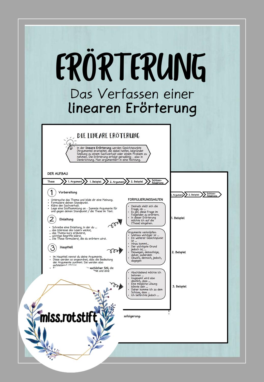 Lineare Erorterung Ubersicht Formulierungshilfe Schreibplan Unterrichtsmaterial Im Fach Deutsch In 2020 Erorterung Formulierungshilfen Erste Hilfe