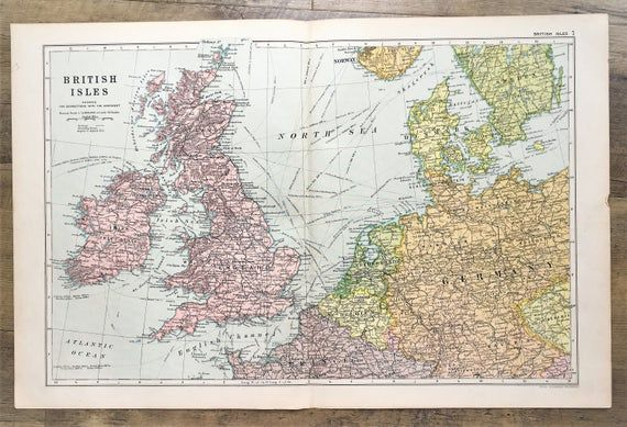 C. 1920 British Isles & North West Europe Map - Antique Folding Colour Map by Bacon, Wall Hanging, H #britishisles