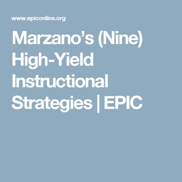 Marzanos Nine High Yield Instructional Strategies Epic Brain