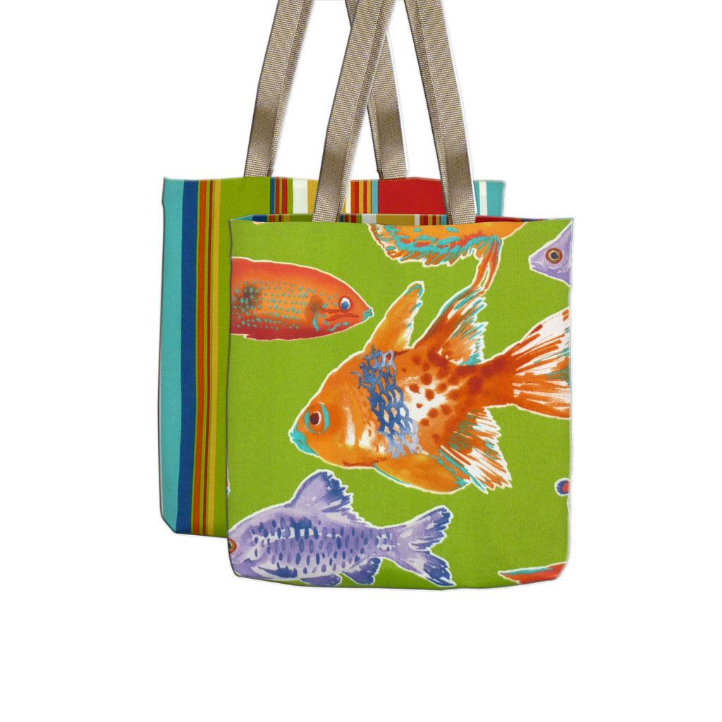 Our Big Fish Tote Bag features colorful #tropical fish and #goldfish on a lime green background.  Available unlined or lined and fully reversible to a coordinating cabana stripe! Hand Made in USA! #totebag