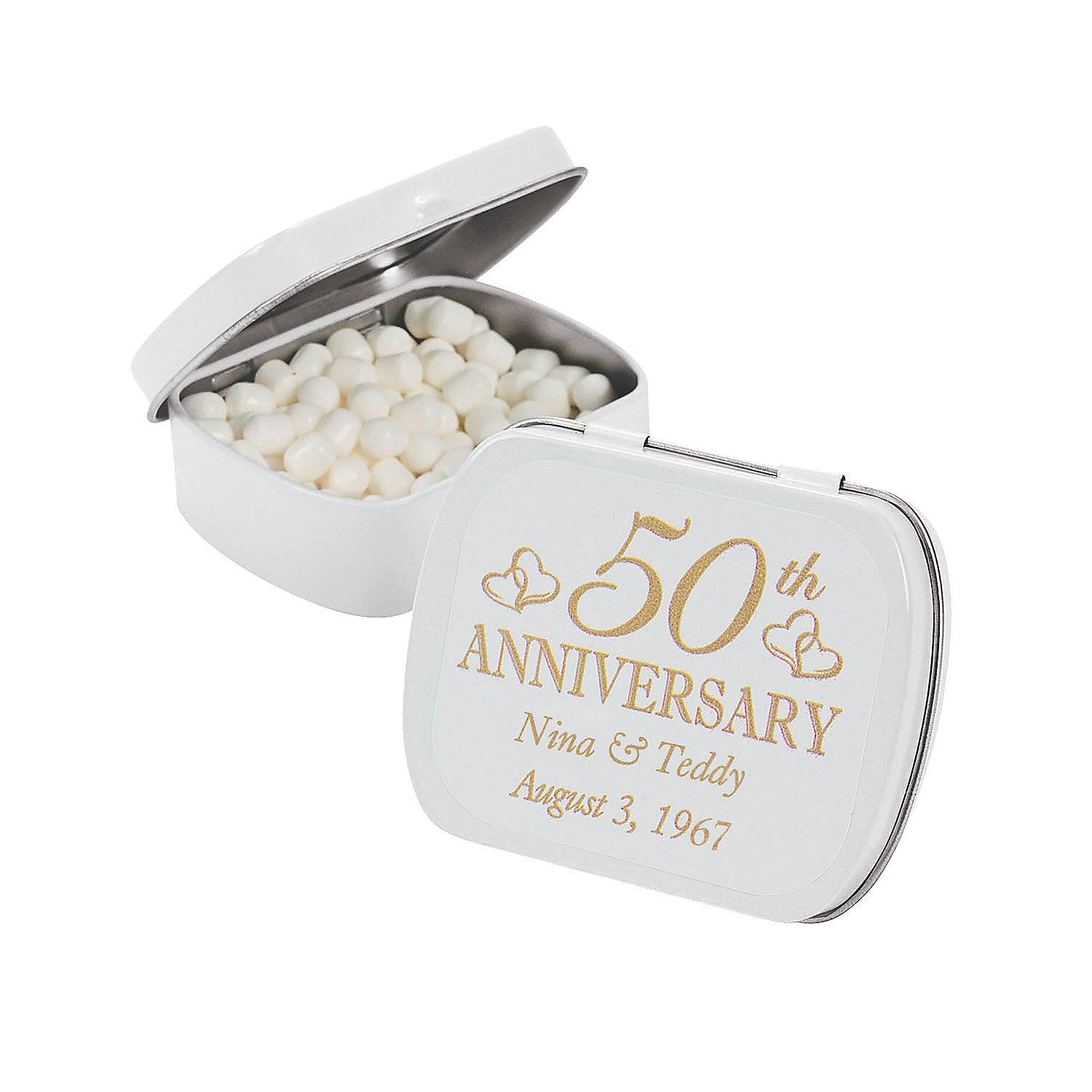 Personalized 50th Anniversary Mint Tins OrientalTrading