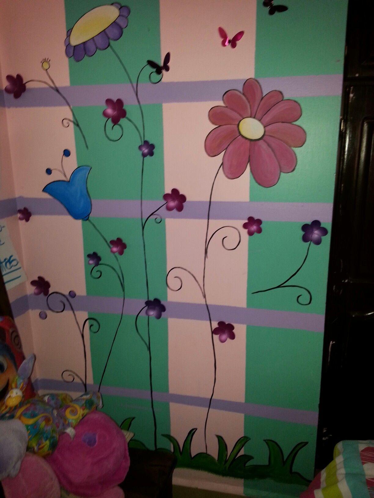 Detalle Decorativo Pintura Mural En Rec Mara Ni A Por A D 08 16  ~ Murales Decorativos Para Habitaciones De Adultos