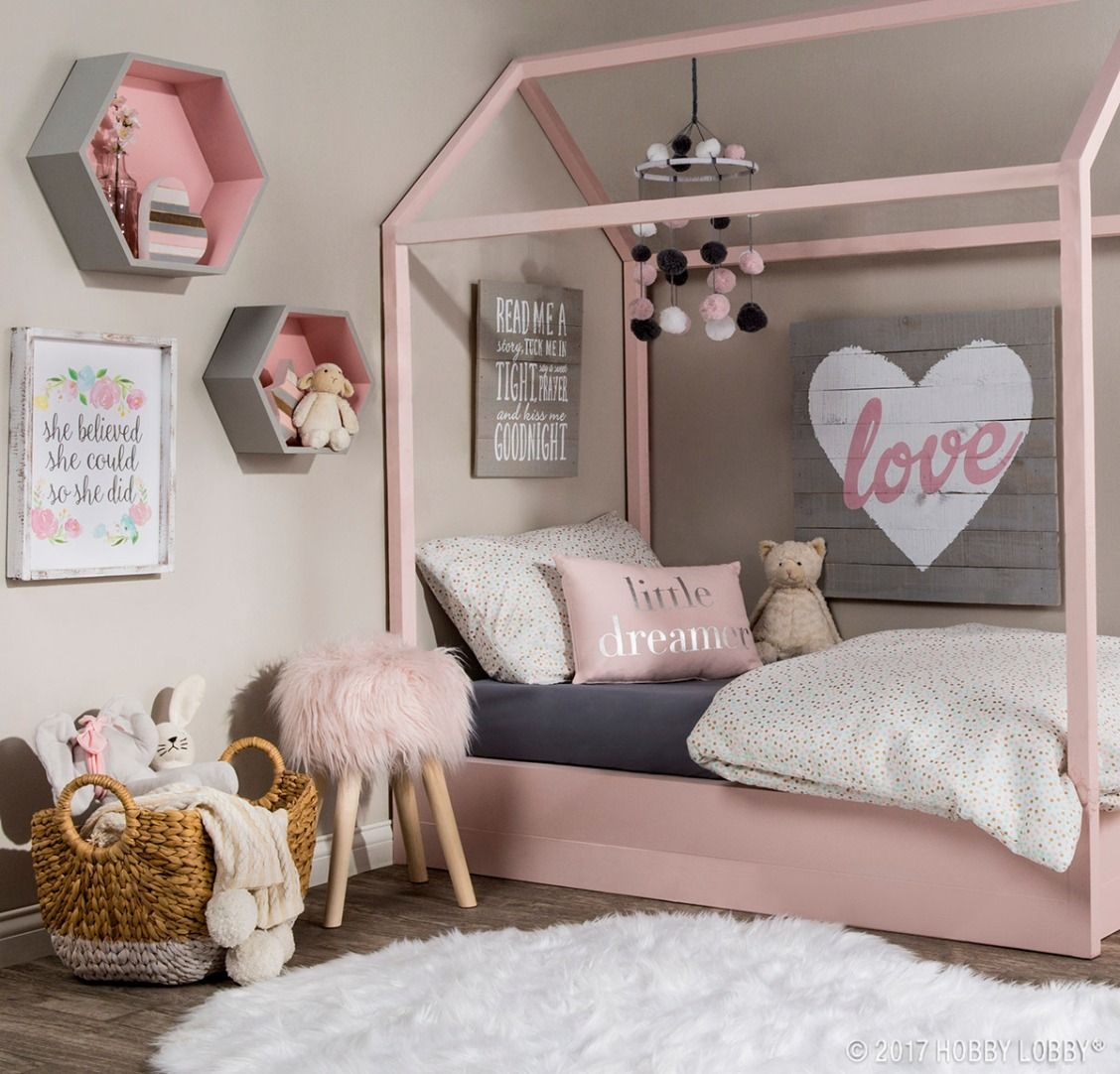 Pretty pink pastels are key to creating this dreamy space!  Pink